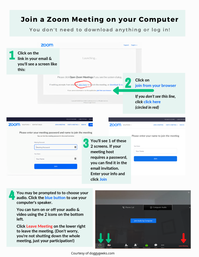 Step-by-step instructions for joining a Zoom meeting.