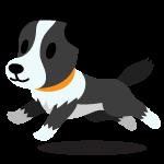 Happy black and white puppy cartoon