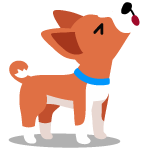 Cartoon of cute dog howling because of separation anxiety